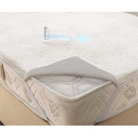 Waterproof fitted mattress protector with edge, terry